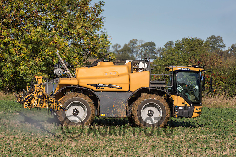Challenger Rogator  spraying Herbicide on oilseed rape to control blackgrass <br /> Picture Tim Scrivener 07850 303986