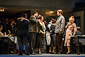 "London, UK. 24.11.2018. English National Opera present their fourth revival of Jonathan Miller's production of Puccini's ""La Boheme"", in which Natalya Romaniw makes her ENO debut. Cast is: Natalya Romaniw (Mimi), Jonathan Tetelman (Rodolfo), Nicholas Lester (Marcello), Simon Butteriss (Benoit/Alcindoro), Nadine Benjamin (Musetta), David Soar (Colline), Bozidar Smiljanic (Schaunard). Picture shows: Jonathan Tetelman (Rodolfo), Natalya Romaniw (Mimi), Nicholas Lester (Marcello). Photograph © Jane Hobson."