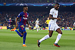UEFA Champions League 2017/2018.<br /> Round of 16 2nd leg.<br /> FC Barcelona vs Chelsea FC: 3-0.<br /> Ousmane Dembele vs Antonio Rudiger.