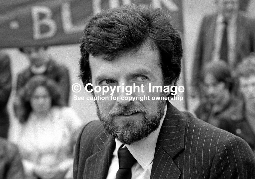 Owen Carron, election agent, for Bobby Sands, leader, Provisional IRA Anti H-Blocks Hunger Strike. Photo taken at count for Fermanagh &amp; South Tyrone by-election, 9 April, where Sands topped the poll. However Sands died, still on hunger strike, a few weeks later on 5th May 1981. 198104100070S8.<br />