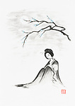 Beautiful thoughtful geisha sitting under sakura branch in the moonlight artistic oriental style illustration, Japanese Zen Sumi-e ink painting on white rice paper background