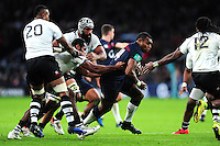 Semesa Rokoduguni of England takes on the Fiji defence. Old Mutual Wealth Series International match between England and Fiji on November 19, 2016 at Twickenham Stadium in London, England. Photo by: Patrick Khachfe / Onside Images
