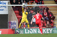 Dean Brill save during Leyton Orient vs Wrexham, Vanarama National League Football at The Breyer Group Stadium on 9th March 2019