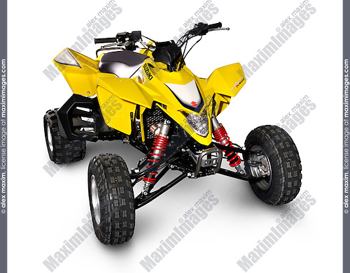 Close-up of yellow Suzuki 2007 QuadRacer R450 ATV sports quad Isolated silhouette with a clipping path on white background