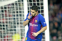FC Barcelona's Luis Suarez celebrates goal during La Liga match. December 17,2016. (ALTERPHOTOS/Acero)