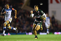 Jonny May of Leicester Tigers races clear for a try. European Rugby Champions Cup match, between Leicester Tigers and Castres Olympique on October 21, 2017 at Welford Road in Leicester, England. Photo by: Patrick Khachfe / JMP