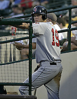 May 14, 2004:  Corey Hart of the Indianapolis Indians, Triple-A International League affiliate of the Milwaukee Brewers, during a game at Frontier Field in Rochester, NY.  Photo by:  Mike Janes/Four Seam Images