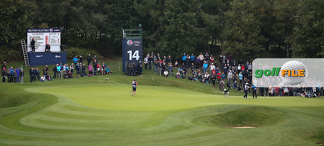 View of the 14th green during the Third Round of the British Masters 2015 supported by SkySports played on the Marquess Course at Woburn Golf Club, Little Brickhill, Milton Keynes, England.  10/10/2015. Picture: Golffile | David Lloyd<br /> <br /> All photos usage must carry mandatory copyright credit (&copy; Golffile | David Lloyd)