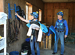 Kate and Bernie Dalton prepare to train their horses at Westampton Farm and Training Center in Westampton, New Jersey