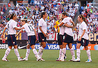 22 MAY 2010:  US WNT celebrate a goal during the International Friendly soccer match between Germany WNT vs USA WNT at Cleveland Browns Stadium in Cleveland, Ohio. USA defeated Germany 4-0 on May 22, 2010.