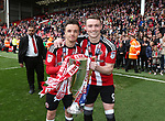 Sheffield United's Stefan Scougall and Caolan Lavery during the League One match at Bramall Lane, Sheffield. Picture date: April 30th, 2017. Pic David Klein/Sportimage
