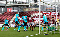 The Northampton defence scramble the ball off of the line<br /> <br /> Photographer Andrew Kearns/CameraSport<br /> <br /> The EFL Sky Bet League One - Northampton Town v Fleetwood Town - Saturday August 12th 2017 - Sixfields Stadium - Northampton<br /> <br /> World Copyright &copy; 2017 CameraSport. All rights reserved. 43 Linden Ave. Countesthorpe. Leicester. England. LE8 5PG - Tel: +44 (0) 116 277 4147 - admin@camerasport.com - www.camerasport.com
