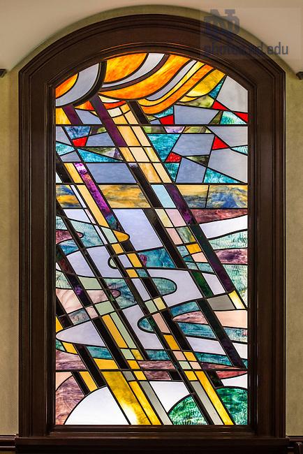 Feb. 11, 2015; Stained glass window, Christ the Teacher Chapel, ACE.  (Photo by Matt Cashore/University of Notre Dame)