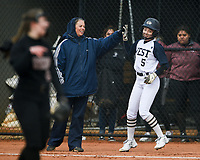 (DO NOT USE) NWA Democrat-Gazette/CHARLIE KAIJO Bentonville West High School Emma Wood (5) high fives assistant coach Teresa Thompson during a softball game, Thursday, March 13, 2019 at Bentonville West High School in Centerton.