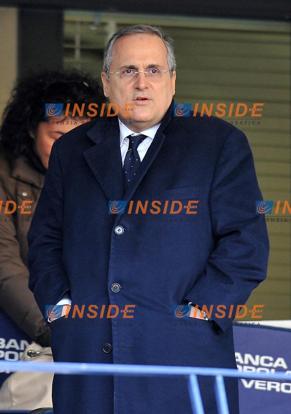 "Claudio LOTITO (Lazio).Verona 29/1/2012 Stadio ""Bentegodi"".Serie A 2011/2012.Football Calcio Chievo Verona Vs Lazio.Foto Insidefoto Alessandro Sabattini."