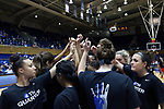 DURHAM, NC - NOVEMBER 30: Duke players huddle before the game. The Duke University Blue Devils hosted the Ohio State Buckeyes on November 30, 2017 at Cameron Indoor Stadium in Durham, NC in a Division I women's college basketball game, and as part of the annual ACC-Big Ten Challenge. Duke won the game 69-60.