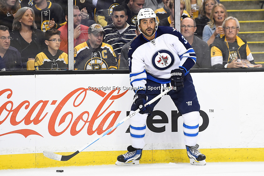 Thursday, October 8, 2015: Winnipeg Jets defenseman Dustin Byfuglien (33) in game action during the NHL game between the Winnipeg Jets and the Boston Bruins held at TD Garden, in Boston, Massachusetts. Winnipeg defeated Boston 6-2 in regulation time. Eric Canha/CSM