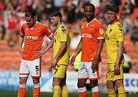 Blackpool's Antony Evans and Nathan Delfouneso closely marked by Fleetwood Town's Wes Burns and Harrison Biggins<br /> <br /> Photographer Stephen White/CameraSport<br /> <br /> The EFL Sky Bet League One - Blackpool v Fleetwood Town - Monday 22nd April 2019 - Bloomfield Road - Blackpool<br /> <br /> World Copyright © 2019 CameraSport. All rights reserved. 43 Linden Ave. Countesthorpe. Leicester. England. LE8 5PG - Tel: +44 (0) 116 277 4147 - admin@camerasport.com - www.camerasport.com