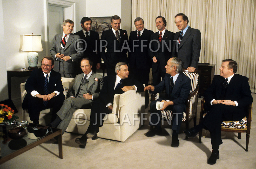 Ottawa, Canada, February 1978. The 11 Canadian Prime Ministers gather at Prime Minister Eliott Trudeaus's home for the federal and provincial conference of prime ministers.