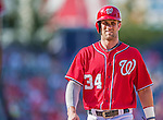 7 September 2014: Washington Nationals outfielder Bryce Harper walls back to first during game action against the Philadelphia Phillies at Nationals Park in Washington, DC. The Nationals defeated the Phillies 3-2 to salvage the final game of their 3-game series. Mandatory Credit: Ed Wolfstein Photo *** RAW (NEF) Image File Available ***