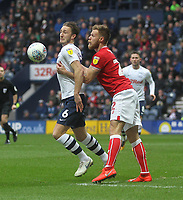 Preston North End's Ben Davies battles with  Bristol City's Tomas Kalas<br /> <br /> Photographer Mick Walker/CameraSport<br /> <br /> The EFL Sky Bet Championship - Preston North End v Bristol City - Saturday 2nd March 2019 - Deepdale Stadium - Preston<br /> <br /> World Copyright © 2019 CameraSport. All rights reserved. 43 Linden Ave. Countesthorpe. Leicester. England. LE8 5PG - Tel: +44 (0) 116 277 4147 - admin@camerasport.com - www.camerasport.com