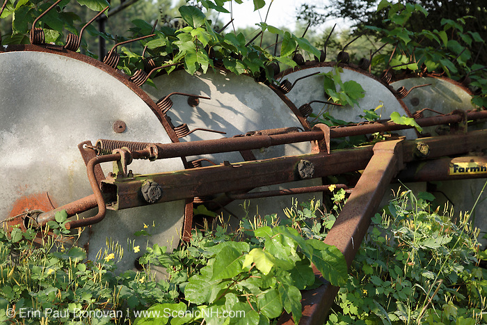Rusted farm equipment in a New Hampshire field