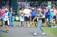 Dustin Johnson (USA) makes his way to the 17th tee during Saturday's round 3 of the PGA Championship at the Quail Hollow Club in Charlotte, North Carolina. 8/12/2017.<br /> Picture: Golffile | Ken Murray<br /> <br /> <br /> All photo usage must carry mandatory copyright credit (&copy; Golffile | Ken Murray)