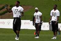 Mike Wallace, Emmanuel Sanders and Limus Sweed, three of Pittsburgh Steelers wide receivers. Training camp, August 11, 2011 at Latrobe, Pennsylvania.