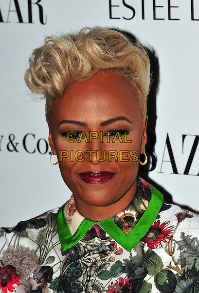 Emeli Sande.Harper's Bazaar Woman of the Year Awards at Claridge's Hotel, London, England..October 31, 2012 .headshot portrait collar trim lipstick black white green brown red floral print .CAP/BF.©Bob Fidgeon/Capital Pictures.