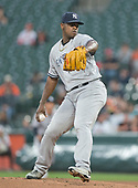 New York Yankees starting pitcher Luis Severino (40) works in the first inning against the Baltimore Orioles at Oriole Park at Camden Yards in Baltimore, MD on Tuesday, May 30, 2017.<br /> Credit: Ron Sachs / CNP<br /> (RESTRICTION: NO New York or New Jersey Newspapers or newspapers within a 75 mile radius of New York City)