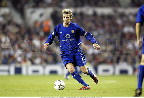 DAVID BECKHAM, MANCHESTER UTD 4 v Olympiakos 0, UEFA Champions League, Group Stage 1, Group F. 021001 Photo: Glyn Kirk/Action Plus...2002.football soccer premier