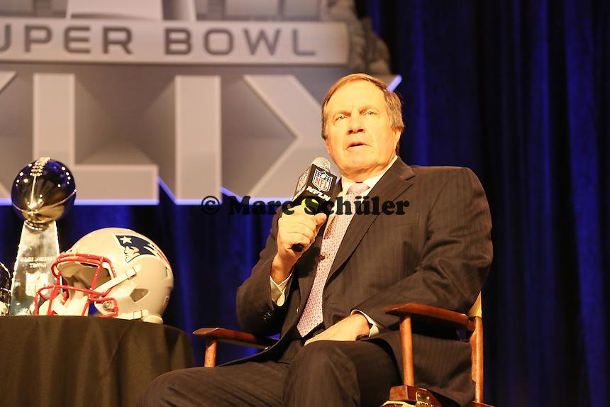Head Coach Bill Belichick (Patriots) - Gemeinsame Team Pressekonferenz Super Bowl XLIX, Convention Center Phoenix