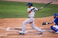 Nashville Sounds outfielder Craig Gentry (9) follows through on his swing during the Pacific Coast League baseball game against the Oklahoma City Dodgers on June 12, 2015 at Chickasaw Bricktown Ballpark in Oklahoma City, Oklahoma. The Dodgers defeated the Sounds 11-7. (Andrew Woolley/Four Seam Images)