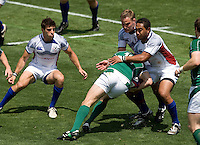 31 May 2009: Nic Johnson of USA and Roland Suniula of USA tackle Barry Murphy of Ireland during the Rugby game at Buck Shaw Stadium in Santa Clara, California.   Ireland defeated USA, 27-10.