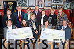 The ladies that organised the Strickeen Mountain walk on March 7th presented the cheques to Kerry Hospice and Recovery Haven in Kate Kearney's Cottage on Monday night front row l-r: Eileen Kennedy Recovery Haven, Emma O'Connor, Teresa McSweeney, Mary Moloney, Ted Moynihan Kerry Hospice. Back row: Kathleen Moloney, Dermot Crowley, Sheila O'Connor, Pat Doolin Kerry Hospice, Joan O'Brien, Roseanne Fogarty and Maureen O'Brien