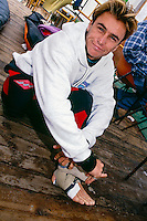 Lacanau Ocean, France. .Shane Dorian (HAW) with an injured ankle photographed  during the 1993 Lacanau Pro..Photo: joliphotos.com