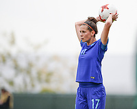 20170914 - TUBIZE ,  BELGIUM : Dutch Merel Van Dongen pictured during the friendly female soccer game between the Belgian Red Flames and European Champion The Netherlands , a friendly game in the preparation for the World Championship qualification round for France 2019, Thurssday 14 th September 2017 at Euro 2000 Center in Tubize , Belgium. PHOTO SPORTPIX.BE | DAVID CATRY