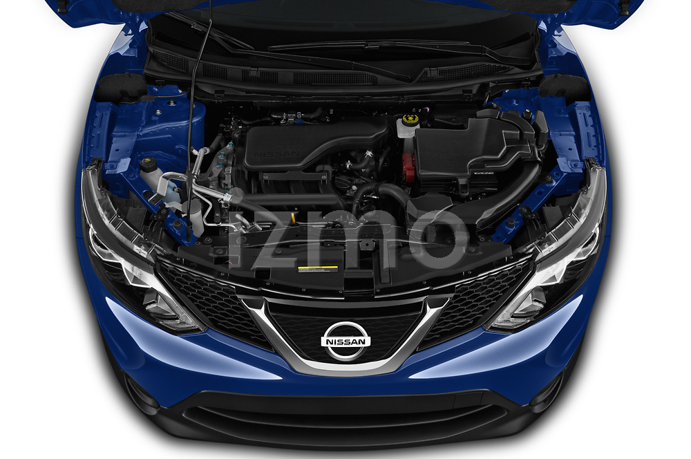 Car Stock 2019 Nissan Rogue-Sport S 5 Door SUV Engine  high angle detail view