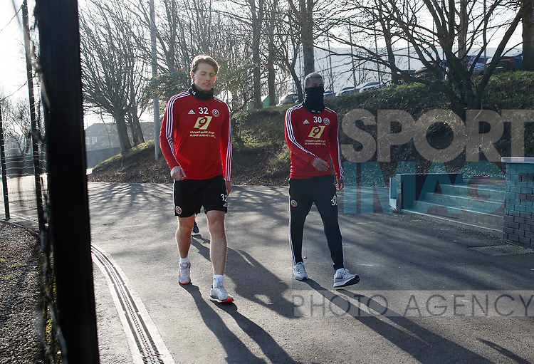 Sander Berge and Richairo Zivlovic of Sheffield Utd during the Press Conference & Training at the Steelphalt Academy, Sheffield. Picture date: 7th February 2020. Picture credit should read: Simon Bellis/Sportimage