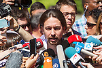 Spanish politician Pablo Iglesias, leader of Unidos Podemos party, after casts his vote for the national elections of june 26 in Madrid, Spain. 26,06,2016. (ALTERPHOTOS/Rodrigo Jimenez)
