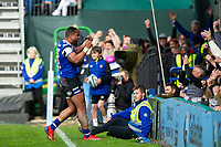 Joe Cokanasiga of Bath Rugby celebrates his second try with the crowd. Gallagher Premiership match, between Bath Rugby and Wasps on May 5, 2019 at the Recreation Ground in Bath, England. Photo by: Patrick Khachfe / Onside Images