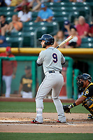 Christian Walker (9) of the Reno Aces bats against the Salt Lake Bees in Pacific Coast League action at Smith's Ballpark on June 15, 2017 in Salt Lake City, Utah. The Aces defeated the Bees 13-5. (Stephen Smith/Four Seam Images)