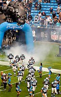 Carolina Panthers take to the field at Bank of America Stadium in Charlotte, NC. Photo from the Carolina Panthers' 20-9 loss to the Buffalo Bills in Charlotte on Sunday, Oct. 25, 2009. Professional American NFL football team The Carolina Panthers represents North Carolina and South Carolina from its hometown of Charlotte, NC. The Carolina Panthers are members of the NFL's National Football Conference South Division. The Charlotte professional football team began playing in Charlotte in 1995 as an expansion team.  The Carolina Panthers play in Bank of America Stadium, formerly known as Carolinas Stadium and Ericsson Stadium.