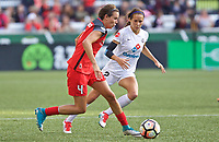 Portland, OR - Wednesday June 28, 2017: Emily Menges, Shea Groom during a regular season National Women's Soccer League (NWSL) match between the Portland Thorns FC and FC Kansas City at Providence Park.