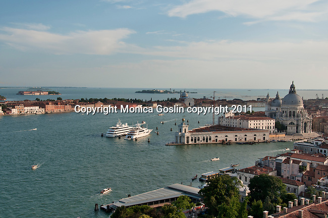 View of Chiesa di Santa Maria della Salute in Venice, Italy from the St. Mark's Campanile bell tower