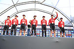 Team Sunweb on stage at sign on before the 2019 Gent-Wevelgem in Flanders Fields running 252km from Deinze to Wevelgem, Belgium. 31st March 2019.<br /> Picture: Eoin Clarke | Cyclefile<br /> <br /> All photos usage must carry mandatory copyright credit (© Cyclefile | Eoin Clarke)