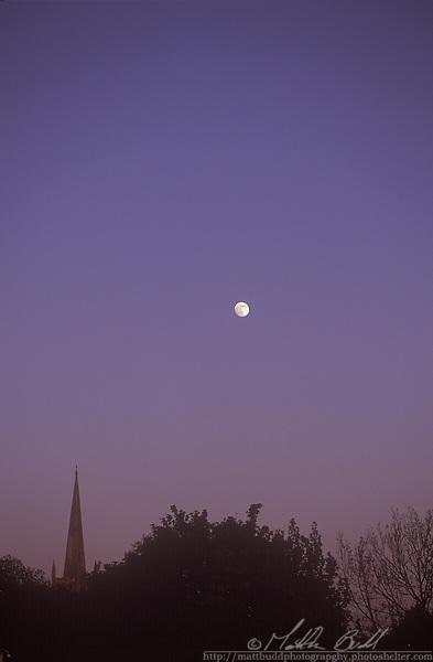 Moon over Congresbury Church