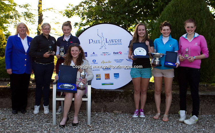 Dawn Butchart, Development Director, Scottish Ladies Golfing Association presented the prizes to (standing from left), Kimberley Beveridge, Shannon McWilliam, Heather Munro, Tara McTaggart, Daniella Ker and front, 2013 Girls Champion Connie Jaffrey.Trophy winners from The Paul Lawrie Foundation Scottish Schools Golf Championships played at Murrayshall House Hotel and Golf Courses on 10th June 2013: Picture Stuart Adams www.golftourimages.com: 10th June 2013
