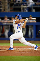 Florida Gators Nelson Maldonado (27) at bat during a game against the Siena Saints on February 16, 2018 at Alfred A. McKethan Stadium in Gainesville, Florida.  Florida defeated Siena 7-1.  (Mike Janes/Four Seam Images)