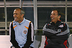 31 March 2007: Houston head coach Dominic Kinnear (l) and New York head coach Bruce Arena (r) share a laugh before the game.  Major League Soccer's Houston Dynamo defeated the New York Red Bulls 2-1 in a preseason game at Blackbaud Stadium on Daniel Island in Charleston, SC, as part of the Carolina Challenge Cup.